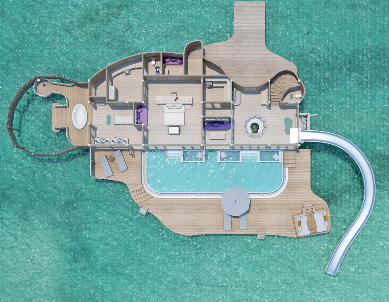ソネバジャニ スライダー付きの水上ヴィラ
