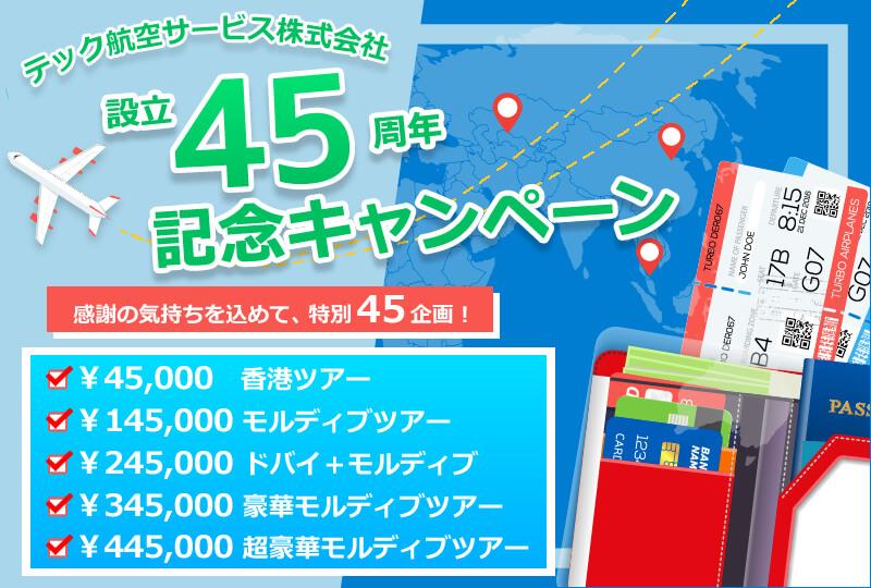 テック航空45周年記念キャンペーン★45周年を記念してお得なツアーをご用意しました!