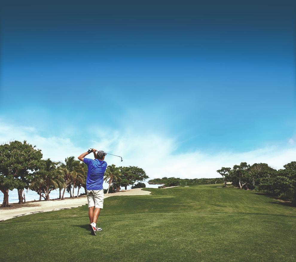 海辺でゴルフ